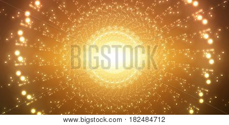 Vector infinite space background. Matrix of glowing stars with illusion of depth and perspective. Sparkling stars of nebula. Abstract futuristic hyperspace universe on gold background.