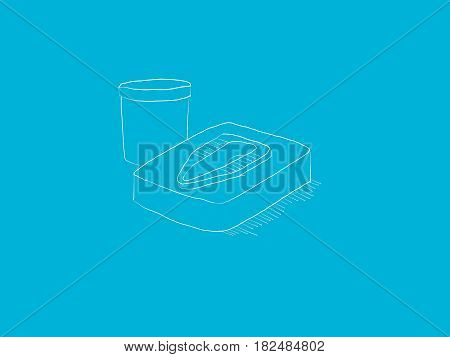 The Asian squat toilet with a bucket illustration and blue background sketch