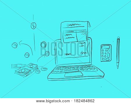 digital invoice illustration with a paper in front of laptop and coins falling down sketch