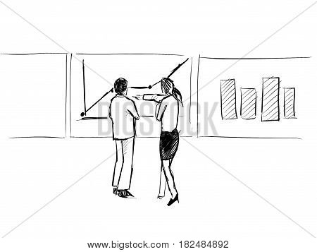 team businessman and business woman discuss analytics finance in front of white board sketch