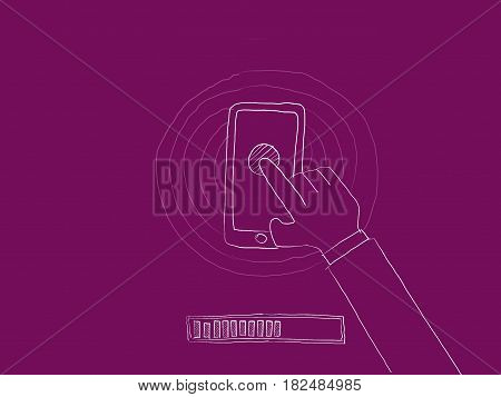 update or download software illustration with a man using his smartphone sketch