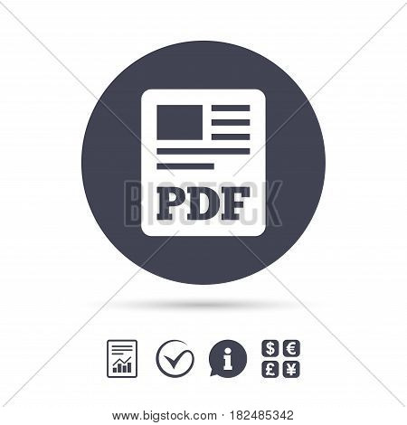 PDF file document icon. Download pdf button. PDF file symbol. Report document, information and check tick icons. Currency exchange. Vector