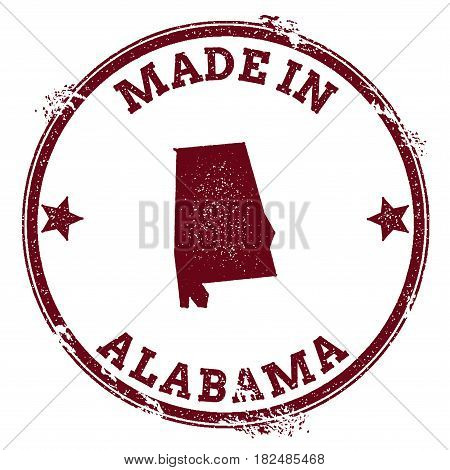 Alabama Vector Seal. Vintage Usa State Map Stamp. Grunge Rubber Stamp With Made In Alabama Text And