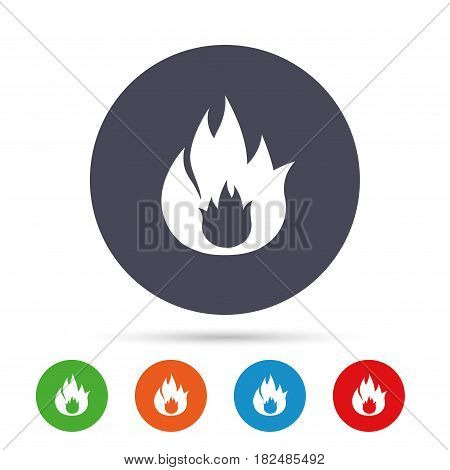 Fire flame sign icon. Fire symbol. Stop fire. Escape from fire. Round colourful buttons with flat icons. Vector