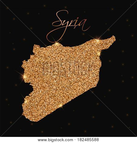 Syria Map Filled With Golden Glitter. Luxurious Design Element, Vector Illustration.