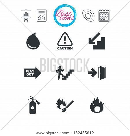 Presentation, report and calendar signs. Fire safety, emergency icons. Fire extinguisher, exit and attention signs. Caution, water drop and way out symbols. Classic simple flat web icons. Vector
