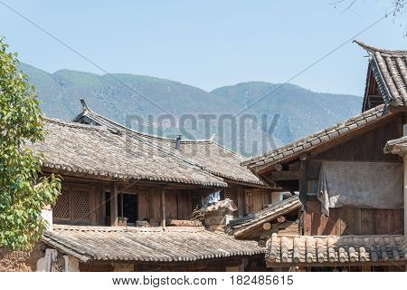 Yunnan, China - Mar 20 2015: Roof At Shaxi Ancient Village. A Famous Ancient Village Of Jianchuan, Y