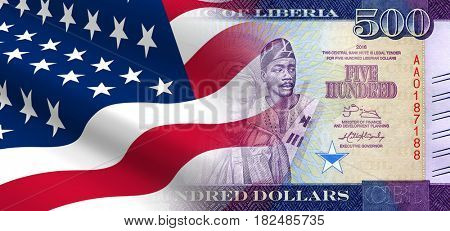 The concept of economic and political relationships the United States with Liberia. 3D illustration.