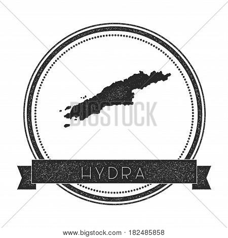 Hydra Map Stamp. Retro Distressed Insignia. Hipster Round Badge With Text Banner. Island Vector Illu