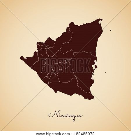 Nicaragua Region Map: Retro Style Brown Outline On Old Paper Background. Detailed Map Of Nicaragua R