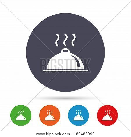 Food platter serving sign icon. Table setting in restaurant symbol. Hot warm meal. Round colourful buttons with flat icons. Vector