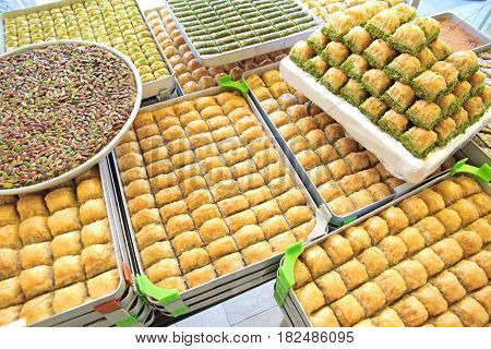 Delicious Turkish sweets and baklava close up image