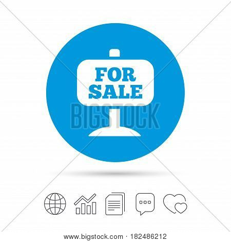 For sale sign icon. Real estate selling. Copy files, chat speech bubble and chart web icons. Vector