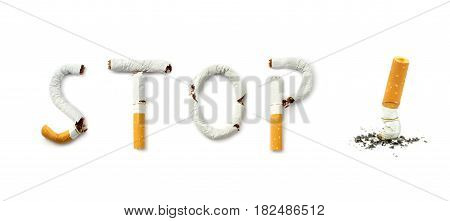 Stop smoking , on white background .