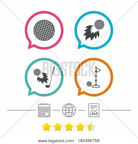 Golf ball icons. Fireball with club sign. Luxury sport symbol. Calendar, internet globe and report linear icons. Star vote ranking. Vector