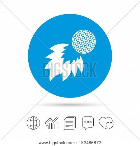 Golf fireball sign icon. Sport symbol. Copy files, chat speech bubble and chart web icons. Vector