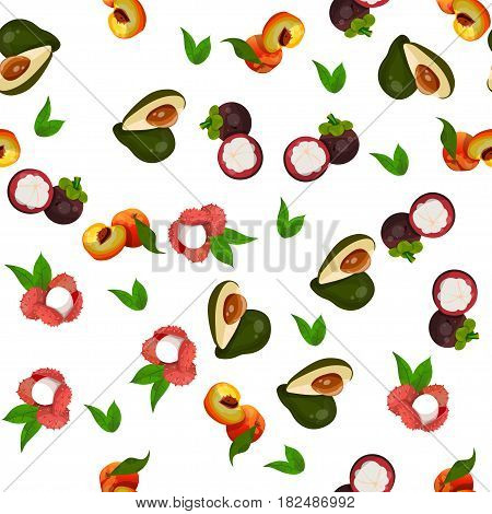 Very high quality original trendy vector seamless pattern with lychee, avocado, mangosteen, peach, exotic tropical fruit