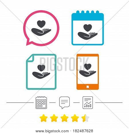 Life insurance sign. Hand holds human heart symbol. Health insurance. Calendar, chat speech bubble and report linear icons. Star vote ranking. Vector