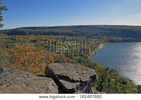 Fall Scene above a Quiet Lake at Devils Lake State Park in Wisconsin