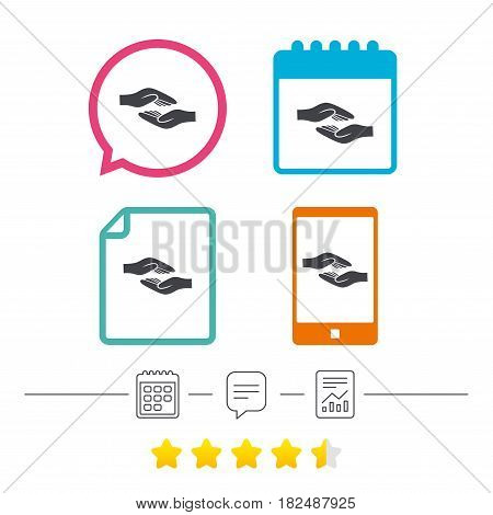 Helping hands sign icon. Charity or endowment symbol. Human palm. Calendar, chat speech bubble and report linear icons. Star vote ranking. Vector