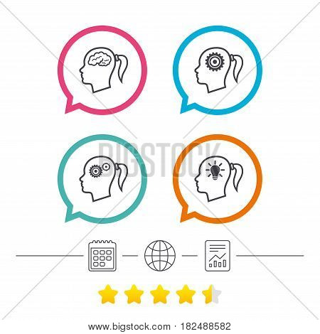 Head with brain and idea lamp bulb icons. Female woman think symbols. Cogwheel gears signs. Calendar, internet globe and report linear icons. Star vote ranking. Vector