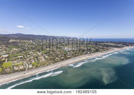 Aerial view of Zuma beach in Malibu, California.