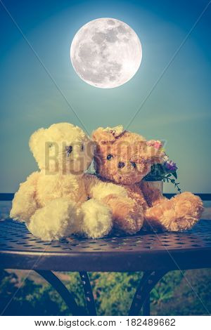 Vintage tone image of two beautiful doll sitting on table blue sky and full moon background. Concept teddy bears couple with love and relationship for valentine day. Greeting or gift card design idea.