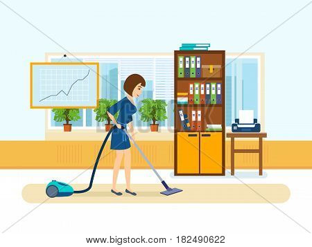 Woman cleaning room. Girl, employee of the office, clean the cabinet: vacuuming floors and wiping dust from cabinets and other furniture. Vector illustration isolated in cartoon style.