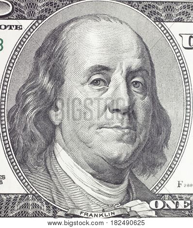 Franklin Benjamin portrait on dollar bill closeup