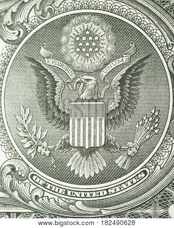 crest great eagle on dollar bill closeup