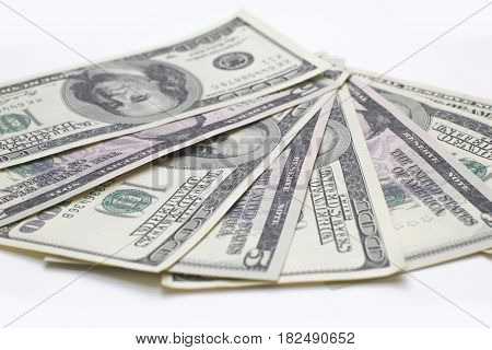 American dollars cash five and hundred banknotes on white