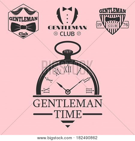 Vintage style pocket watch gentleman logo vector illustration badge antique graphic design mustache element. Premium quality man shop stamp classic haircut fashion moustache barber sign.