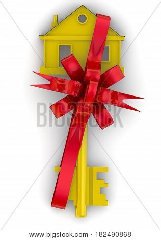 Real estate as a gift. Gold house key tied with a red ribbon and bow. Isolated. 3D Illustration
