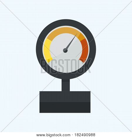 Pressure sensor manometer tool vector icon or pressure sensor on factory pipeline vector illustration. Gas industrial measure steel control tool machine test value indicator.