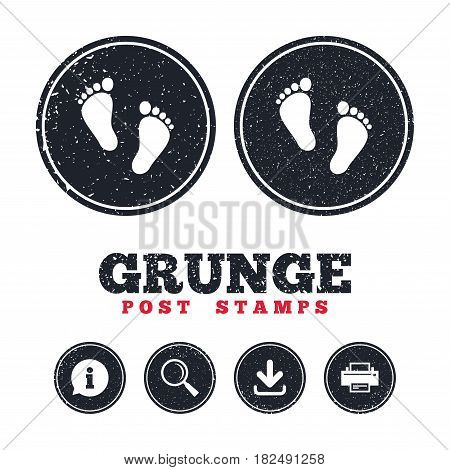 Grunge post stamps. Child pair of footprint sign icon. Toddler barefoot symbol. Baby's first steps. Information, download and printer signs. Aged texture web buttons. Vector