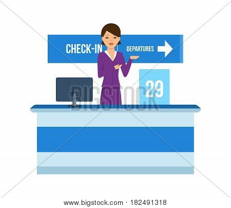 People traveling concept. The airport employee, at the reception advises clients, issues documents, conducts an audience. Vector illustration isolated in cartoon style.