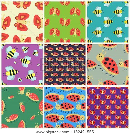 Colorful insects seamless pattern wildlife wing detail summer worm and caterpillar bugs wild spider bee vector illustration. Nature pest ladybird mosquito small art background.