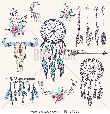 Creative boho style frames mady ethnic feathers arrows and Floral elements vector illustration. Tribal vintage bohemian decorative ornament abstract aztec hand drawn pattern.