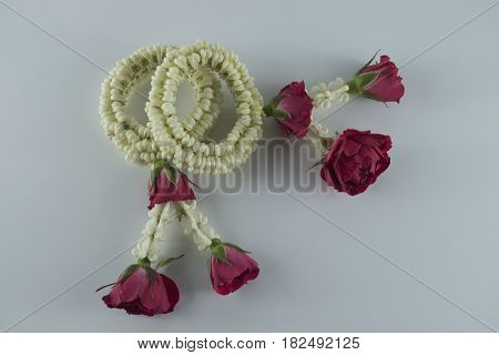 Thai traditional jasmine garland.symbol of Mother's day in thailand to offer the monk or buddha.