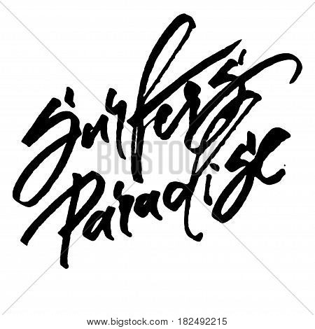 Surfers Paradise. Modern Calligraphy Hand Lettering for Silk Screen Print