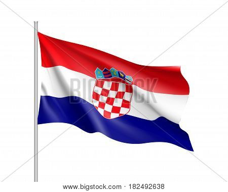 National flag of Croatia republic. Patriotic croatian sign in official country colors blue, white and red. Symbol of Sounhern European state. Vector icon illustration