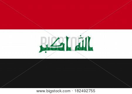 Iraq national flag, horizontal tricolor, red, white, black stripe, symbolic element, patriotic symbol of country, flat vector illustration