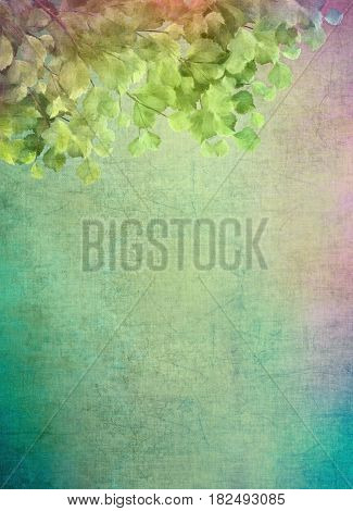 Leaves on the canvas. Decorative grunge background with green leaves. Digital painting