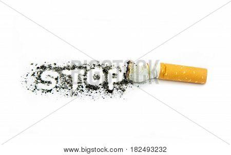 Stop smoking on white background close up image