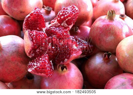 Yummy Pomegranate , close up image .