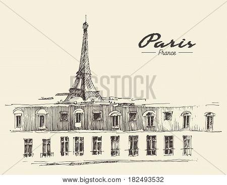 Sketch of the Eiffel Tower Paris, vector illustration