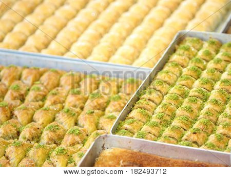 Delicious Turkish baklava ,close up image .