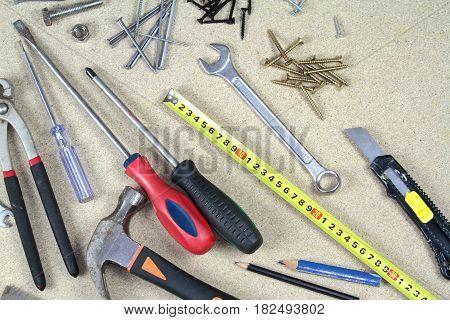 Various work tools close up image .