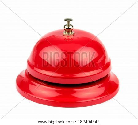 Red service bell on white background .