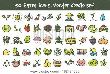 Vector doodle farm icons set. Stock cartoon signs for design.